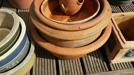 Terracotta plant pots all sizes large to small