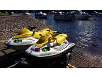 2 x seadoo jetskis gsx + gti great family package twin trailer