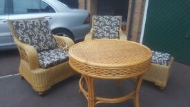 Cane furniture set with cushions