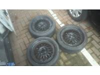 "17"" staggered 4x100 4x108 BBS RS style Alloy wheels job lot!! Polo golf 106 206"