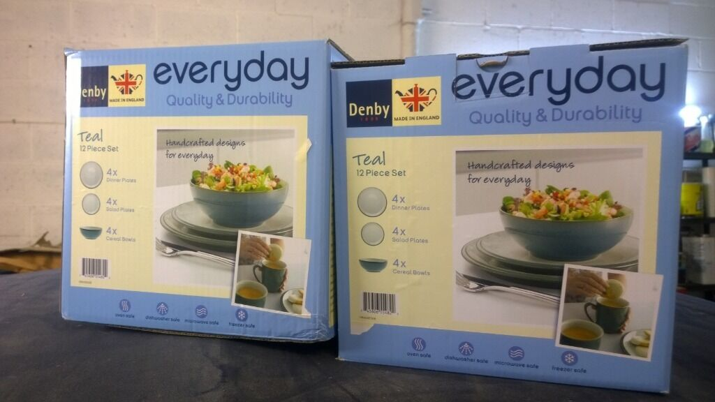 2 x 12 piece denby everyday teal dinner set brand new boxed | in ...