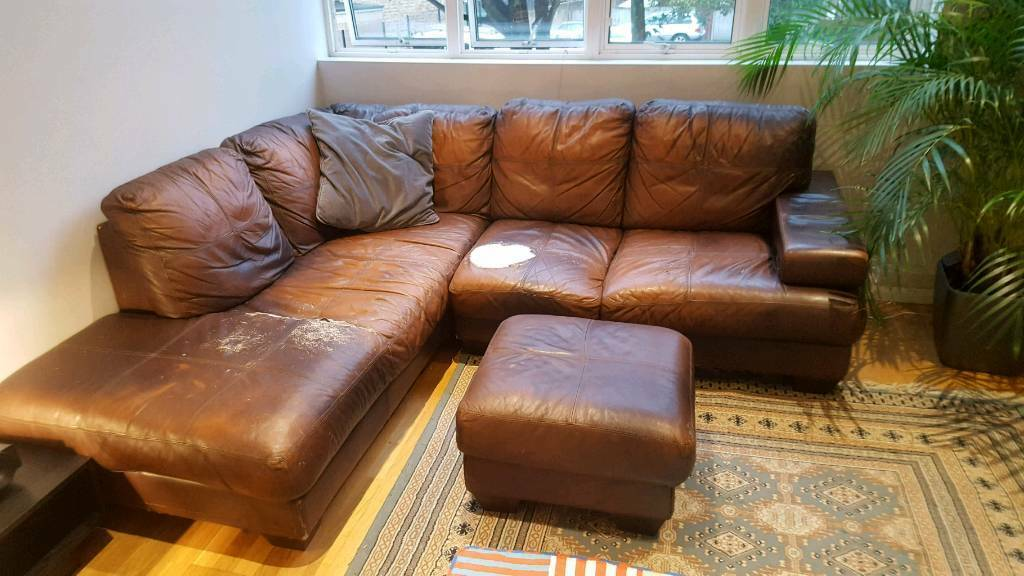 Large Brown Leather Chaise Corner Sofa + Footstool