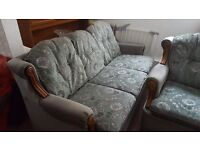 Three piece suite: three seater sofa and 2 chairs ready for immediate collection