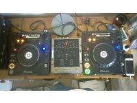 x2 Pioneer CDJ 1000 MK3, both in original box with a Numark M3 mixer
