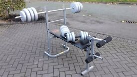 PRO POWER WEIGHTS BENCH WITH 55KG WEIGHTS & BARS