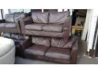 REAL LEATHER SOFA SET IN CHOC BROWN 3+2 SEATER