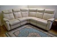 *FREE DELIVERY* £2k Furniture Village Electric Reclining Corner Sofa Bone Luxury Leather (next dfs)