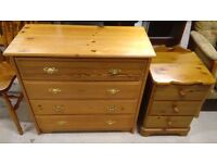pine chest of draws and bedside table