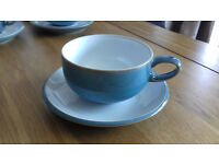 Denby Azure Cup and Saucer x8