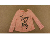 BNWT Joules Girls Pink Long Sleeved Top Age 3-4 Years
