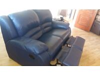 Very comfortable dark blue 2 seater recliner