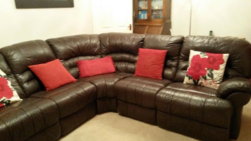 Sold Subject To Collection Dark Brown Leather Corner Sofa
