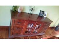 Gorgeous Indonesian Teak 3 Piece Dining Room Set Table Sideboard Display Cabinet