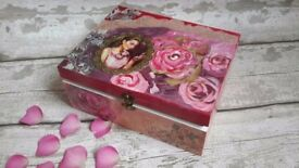 This is a beautiful decoupage wooden box