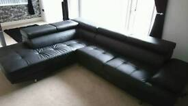 Modern Faux Leather Corner Sofa with adjustable headrests