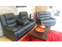 BRAND NEW LEATHER RECLINER SOFA SET WITH CUP HOLDER ON SALE