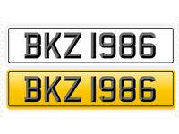 BKZ 1986 Private Personalised Ageless Number Registration Plate Porsche Boxster 986 Becks Brooke