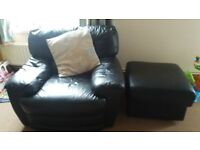 I have a black leather sofa, armchair and pouffe going for free.