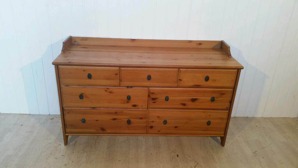 Ikea Solid Pine Long Chest Of Drawers