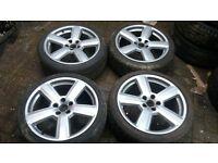 18 RS6 STYLE ALLOY WHEELS 5 X 112 VW T4 GOLF PASSAT A3 A4 VITO AUDI TT GOOD TYRES