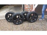 "Black Wheels (Rims & Tyres) Ford Fiesta Zetec S Wheels £280 4 wheels Southampton 17"" Bolts Included"