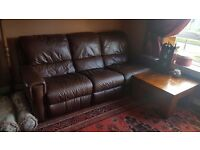 3-seater reclining brown leather sofa - with free delivery