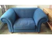 Snuggle sofa 1.5 seat in Blue with matching cushions