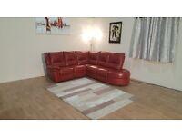 Ex-display Diablo red leather manual recliner corner sofa