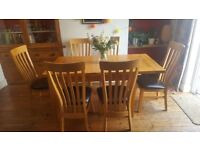 Extending dining table & six chairs (solid oak)