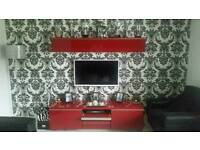 Red gloss besta burs Ikea tv unit and dvd wall cabinet