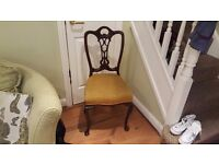 Vintage Retro Bedroom Chair Hall Chair Dining Chair Queen Anne Style Legs