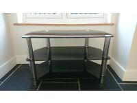 *REDUCED* Black & Silver Glass TV Television Stand