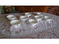 8 Porcelain white bowl for soup with handles