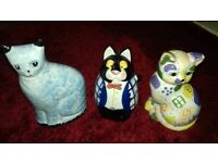 Three gorgeous collectible cat money boxes🌟BARGAIN £2! FOR ALL🌟