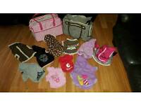Pet clothes and carry bag bundles