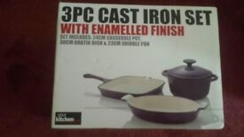 3PC Cast Iron Set with Enamelled Finish BRAND NEW