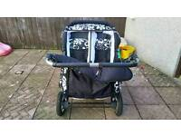 Twin pram, car seats and isofix bases