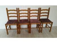 Set of 4 Solid Pine Ladder Back Dining Chairs