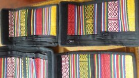 Authentic Nepalese multicoloured cotton wallets x 10