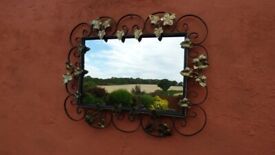 Vintage Wall Mirror Gold Wrought Iron Gilt Metal Ornate Leaf 1950s