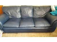 Blue leather 3,2,1 sofas