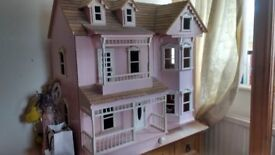large pink dolls house