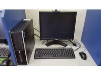 HP 8000 computer set, Intel Core 2 DUO 2.93GHz, 4GB, 250GB HDD, Windows 7 + monitor 17''