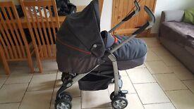 Silver Cross 3D pram/ pushchair / travel system. Grey with orange trim. Birth to toddler. VGC.