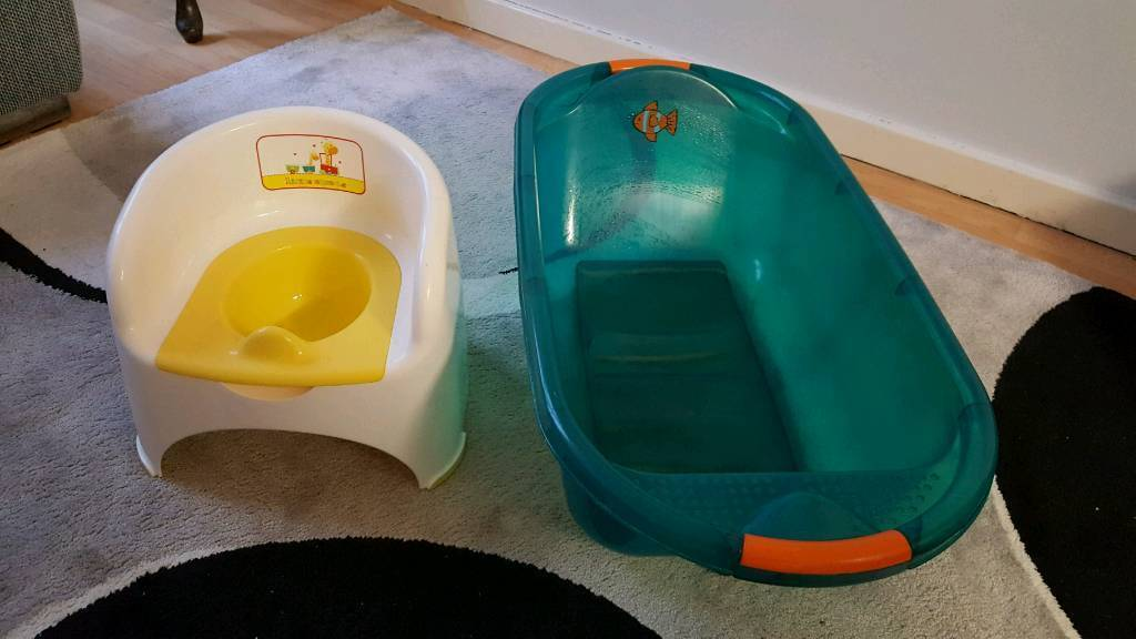 MOTHER CARE POTTY TRAINING AND FISHER PRICE BATH TUB