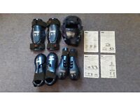 Macho Warrior sparring set: helmet, hand, shin and foot guards.