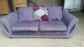 Purple Fabric 3 Seater Sofa