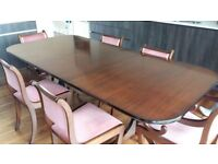 Large extendable dining table with 6 chairs