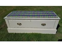 Newly Restored Ottoman With Padded Seat And Large Storage Drawer And Brass Handles