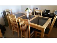 Dining Table & 6 Chairs in light oak wood - Black marble inserts - good condition
